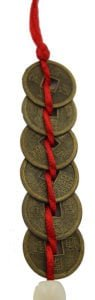 6 Chinese I-Ching coins tied in a row