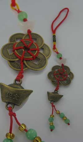 8 Coins tied in Miao infinity circle with wealth ingot