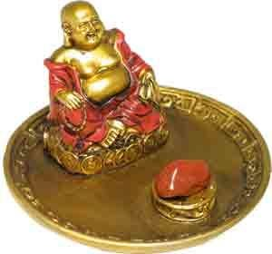 Xiu Fo Buddha sitting on bed of coins (protection for wealth and legal issues)