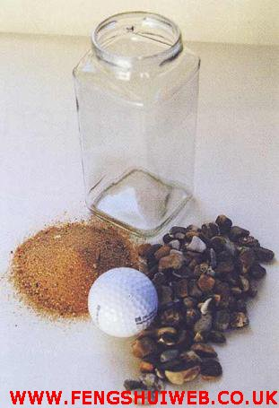 golf balls and sand