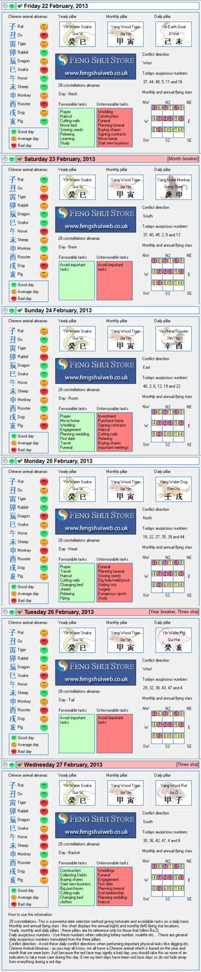 Tong Shu Almanac for Friday 22nd - Wednesday 27th February 2013