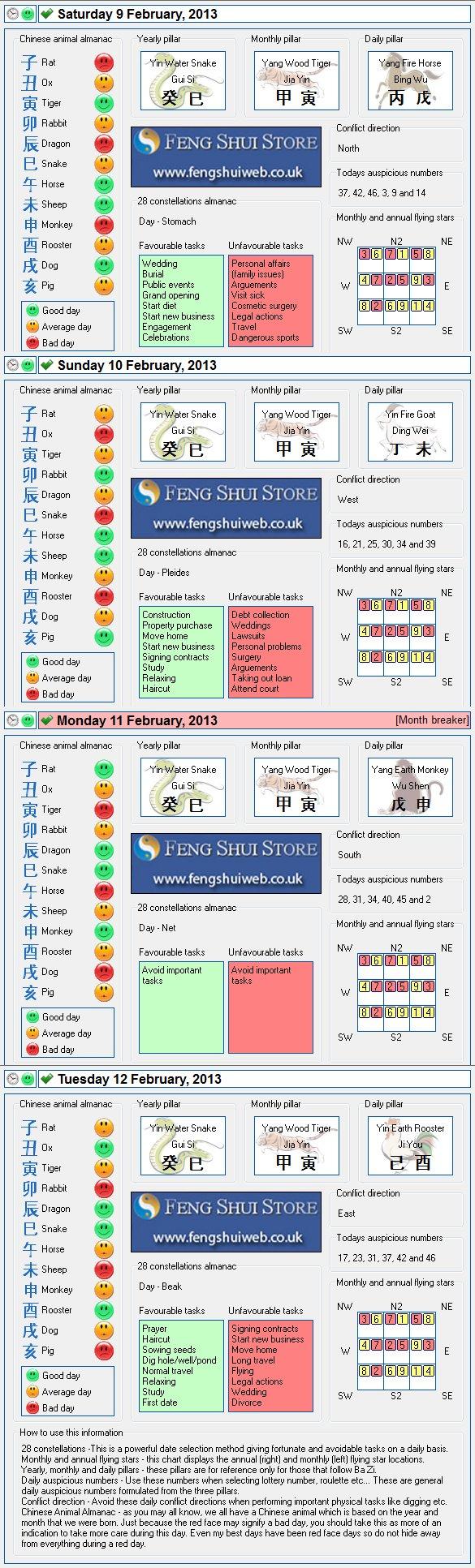Tong Shu Almanac for Saturday 9th - Tuesday 12th February 2013