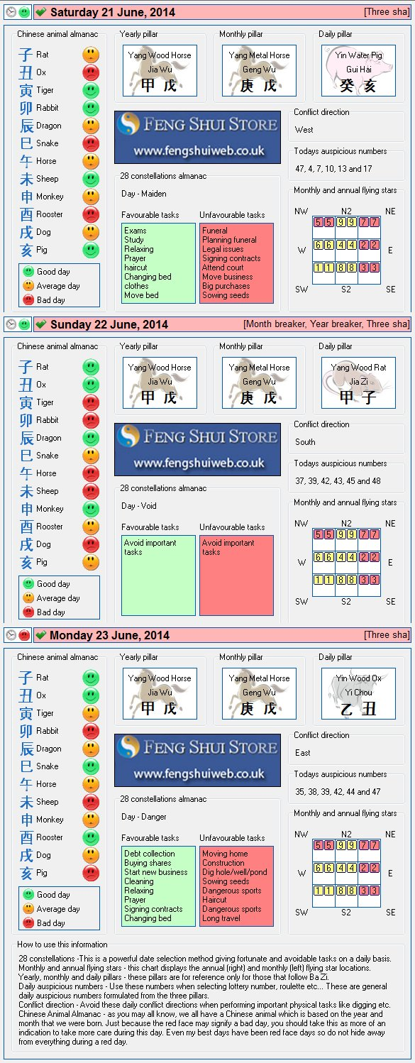 Tong Shu Almanac for Saturday 21st - Monday 23rd June 2014
