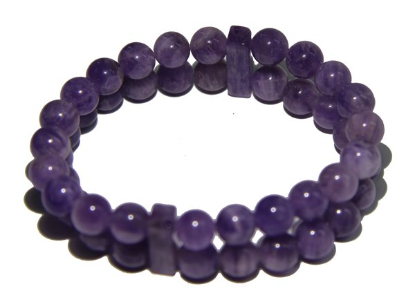 Amethyst Crystal double Power Bead Bracelet