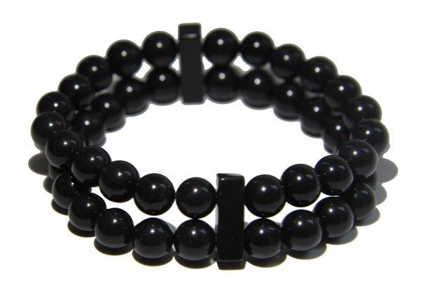Onyx Crystal double Power Bead Bracelet