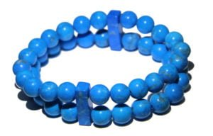 Blue Howlite Crystal double Power Bead Bracelet