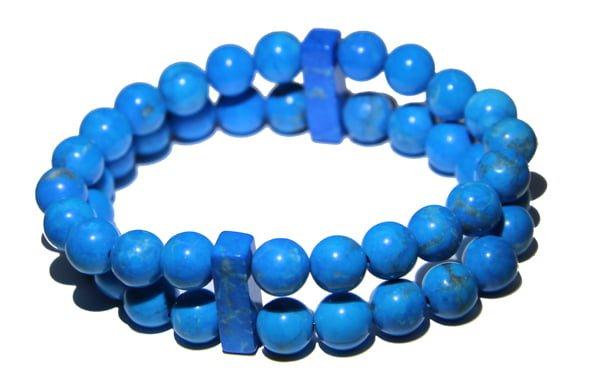 Blue Howlite Crystal double Power Bead Bracelet