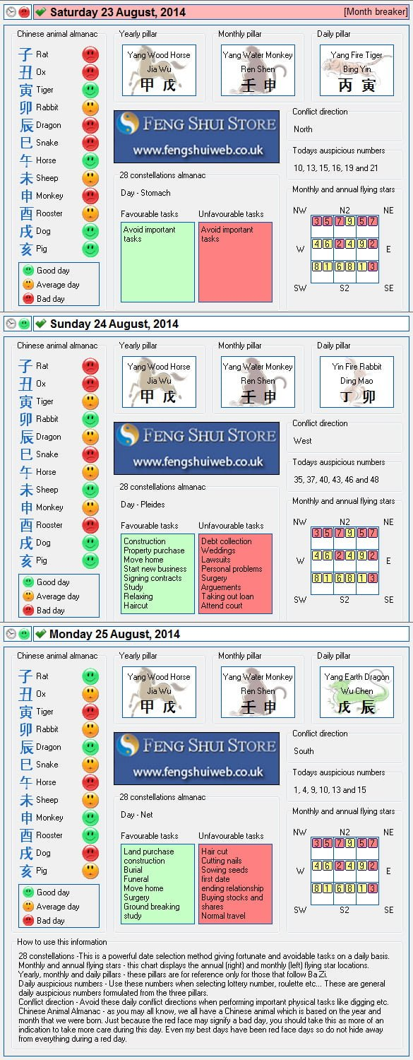 Tong Shu Almanac for Saturday 23rd - Monday 25th August 2014