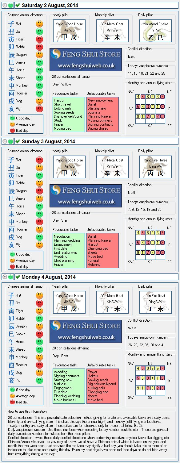 Tong Shu Almanac for Saturday 2nd - Monday 4th August 2014