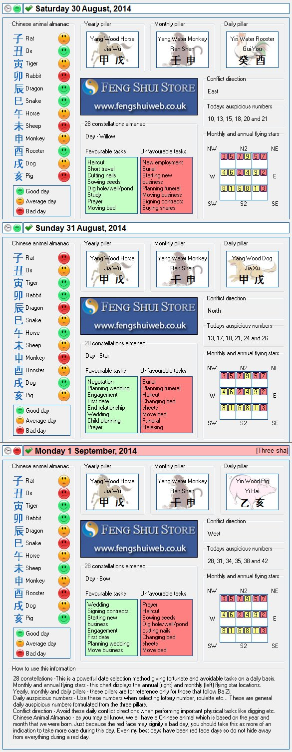 Tong Shu Almanac for Saturday 30th August - Monday 1st September
