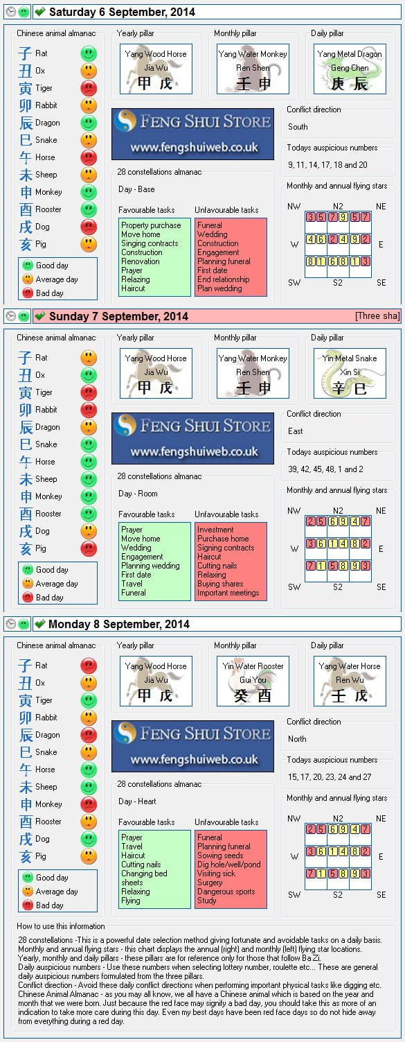 Tong Shu Almanac for Saturday 6th - Monday 8th September 2014