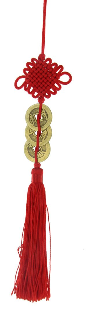 gao qian Three i-ching coins with mystic knot and tassel