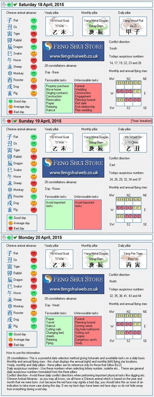 Tong Shu Almanac for Saturday 18th - Monday 20th April 2015