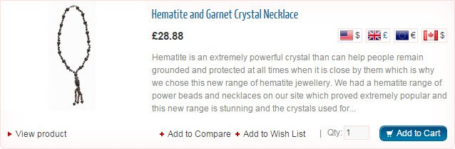 Hematite and Garnet Crstal Necklace