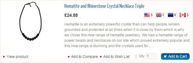 Hematite and Rhinestoen Crystal Necklace Triple