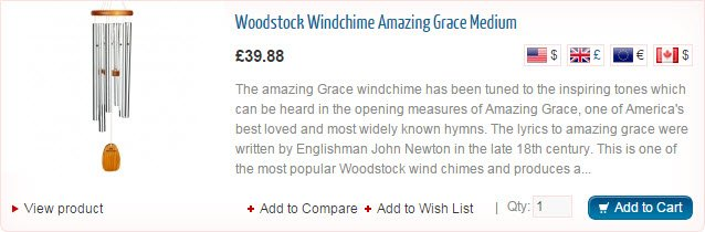 Woodstock Amazing Grace Wind Chime