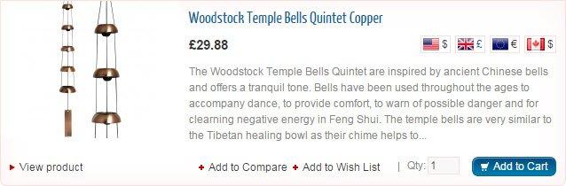 Woodstock Temple Bells Quintet Copper