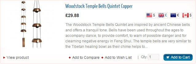 Woodstock Temple Bells Quintet Copper