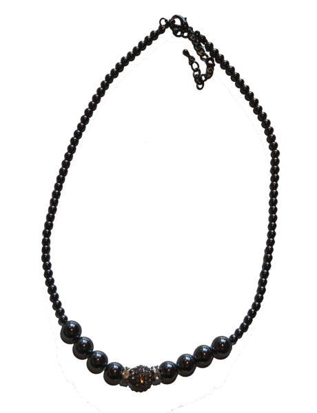 Hematite and Rhinestone Crystal Necklace Single