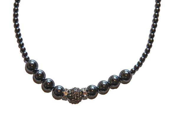 Hematite and Rhinestone Crystal Necklace Single