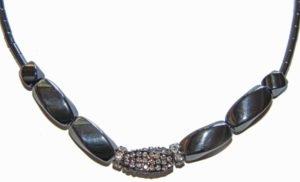 Hematite and Rhinestone Crystal Necklace Chunky