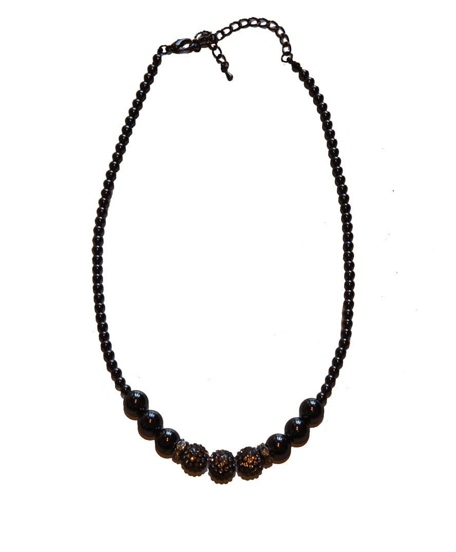 Hematite and Rhinestone Crystal Necklace Triple
