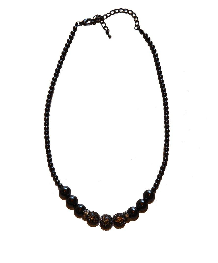 Hematite and Rhinestone Crystal Necklace Triple