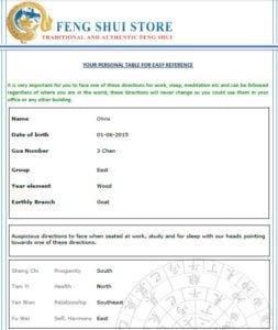 Feng Shui Online Report