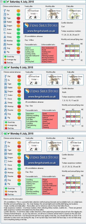 Tong Shu Almanac for Saturday 4th - Monday 6th July 2015