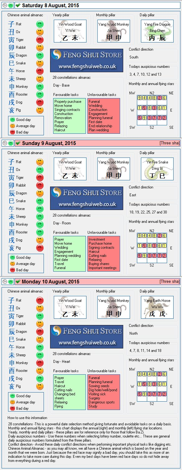 Tong Shu Almanac for Saturday 8th - Monday 10th August 2015