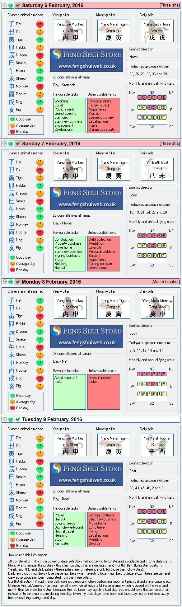 Tong Shu Almanac for Saturday 6th - Tuesday 9th February 2016