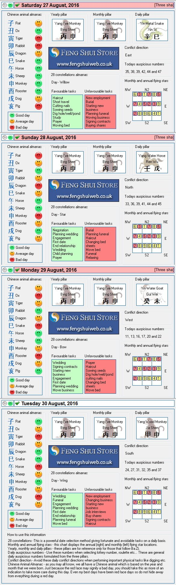 Tong Shu Almanac for Saturday 27th - Tuesday 30th August 2016