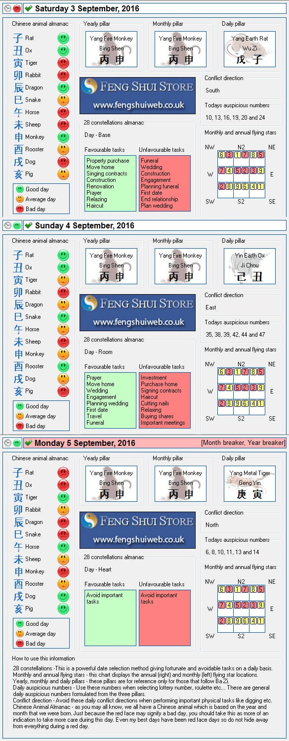 Tong Shu Almanac for Saturday 3rd - Monday 5th September 2016