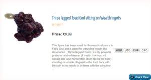Three legged Toad God sitting on Wealth Ingots