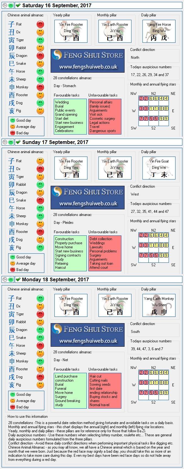 Tong Shu Almanac for Saturday 16th - Monday 18th September 2017