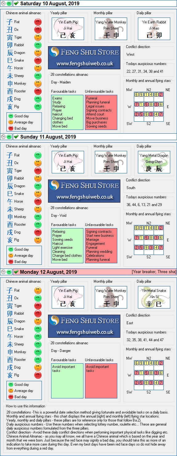 Tong Shu Almanac for Saturday 10th - Monday 12th August 2019
