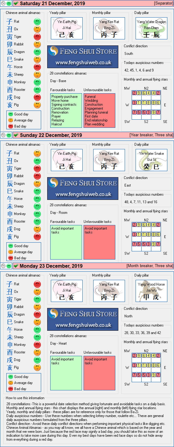 Tong Shu Almanac for Saturday 21st - Monday 23rd December 2019