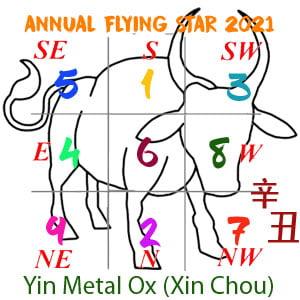 2021 Feng Shui Flying star chart